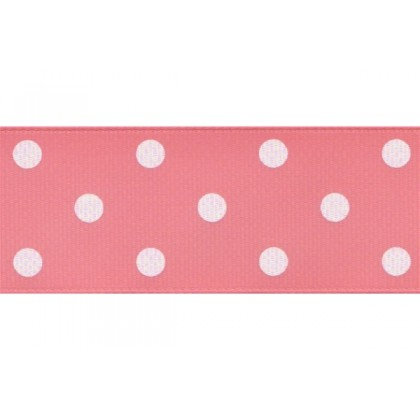 "5yards 1.5"" White Polka Dot Print Grosgrain Ribbon"