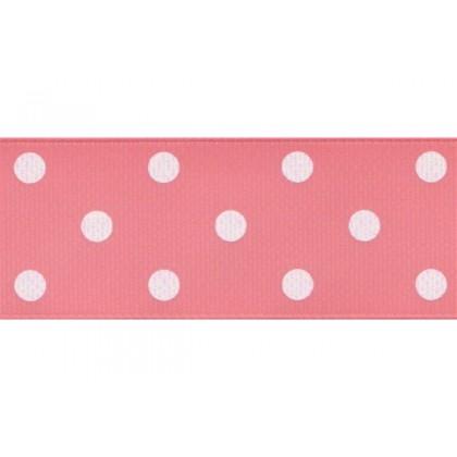 "5yards 1.5"" White Polka Dot Print Grosgrain Ribbon"