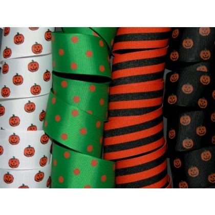 "5 yards 1.5"" Halloween Print Grosgrain Ribbon"