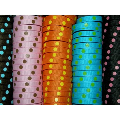 "5 yards 3/8"" Offray Colored Polka Dot Grosgrain Ribbon"