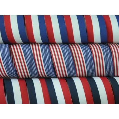 """5 yards 1 3/8"""" American Patriotic Stripes Grosgrain Ribbon"""