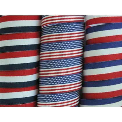 """5 yards 3/4"""" American Patriotic Stripes Grosgrain Ribbon"""