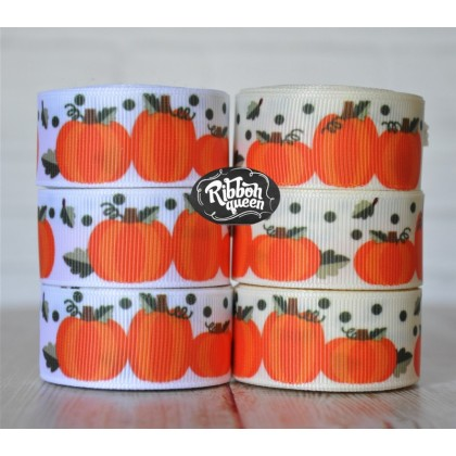 "5 yards 7/8""Autumn Pumpkin Print Grosgrain Ribbon"