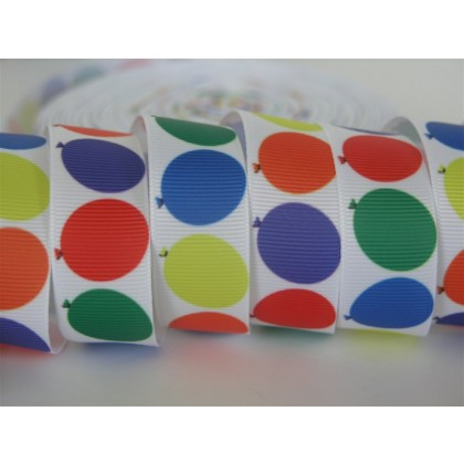 "7/8"" Balloon Print Grosgrain Ribbon"