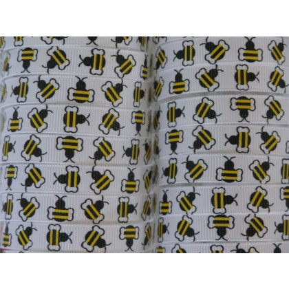 100 yards Bee Print Grosgrain Ribbon