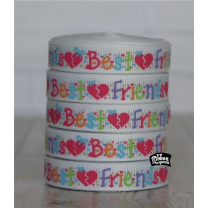 "5 yards 3/8"" Best Friends Print Grosgrain Ribbon"