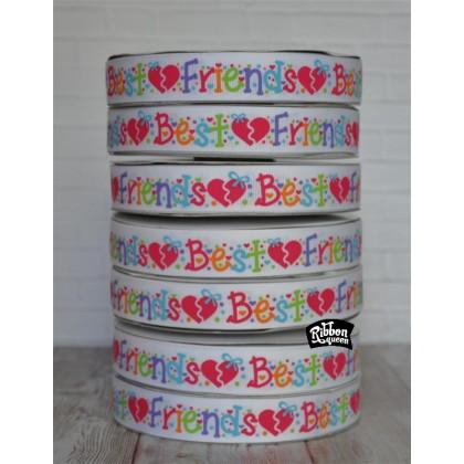 "5 yards 7/8"" Best Friends Print Grosgrain Ribbon"
