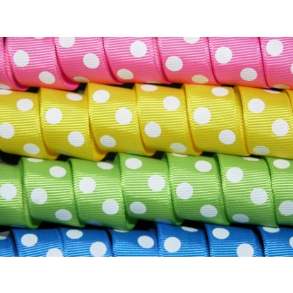 "5 yards 5/8"" Big Polka Dots Grosgrain Ribbon"