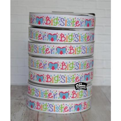 """5 yards 7/8"""" New Sisters Print Grosgrain Ribbon"""