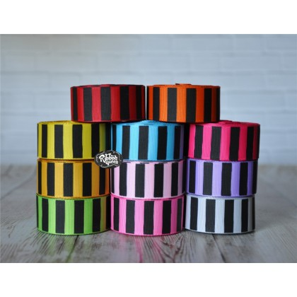 "5 yards 7/8"" Black Ink Barrel Stripe Printed Grosgrain Ribbon"