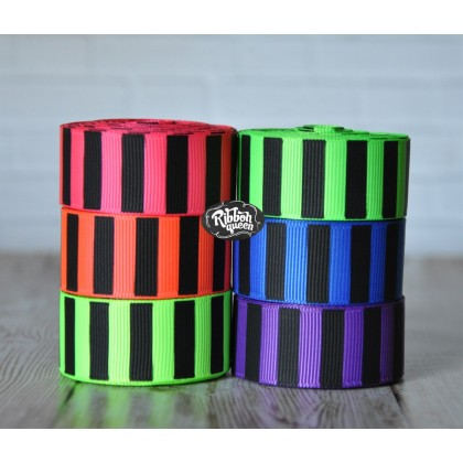 "5 yards 7/8"" Neon Colors Black Ink Barrel Stripe Printed Grosgrain Ribbon"