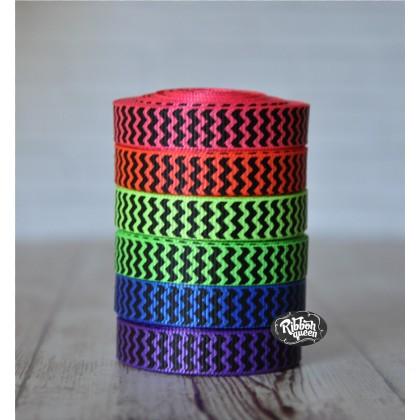 "5 yards 3/8"" Neons with Black Ink Chevron Stripe Grosgrain Ribbon"