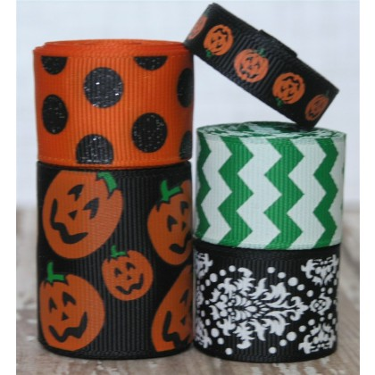 10 yards Black Pumpkin Ribbon Mix