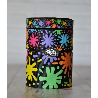 5 yards Black Paint Splatter School Print Grosgrain Ribbon