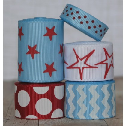 10 yards Blue Holiday Ribbon Mix