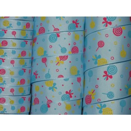 5 yards Blue Lollipops Print Grosgrain Ribbon