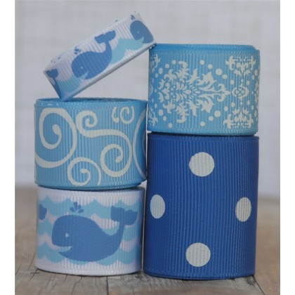 10 yards Blue Whale Ribbon Mix
