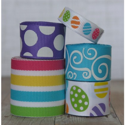 10 yards Bright Eggs Easter Ribbon Mix
