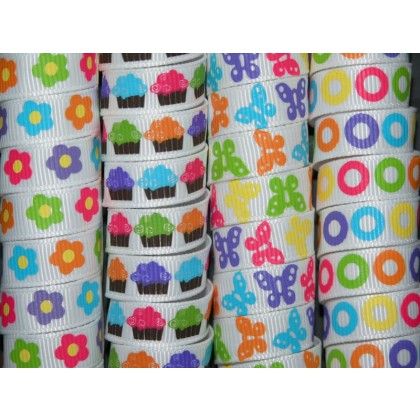 "5 yards 3/8"" Bright Prints Grosgrain Ribbon"