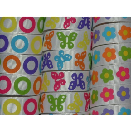 "5 yards 7/8"" Bright Prints Grosgrain Ribbon"