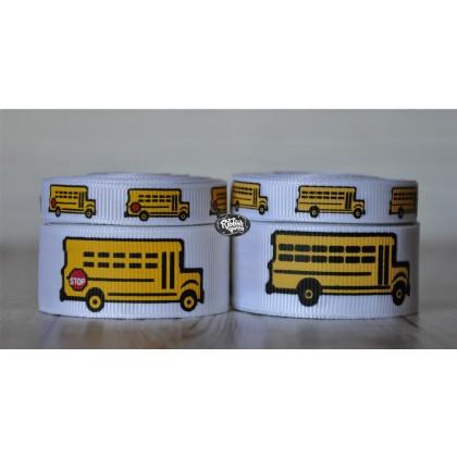 5 yards School Bus Print Grosgrain Ribbon