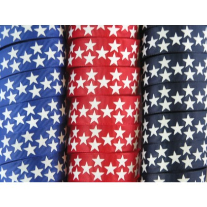 "5 yards 7/8"" Biggie Star Print Grosgrain Ribbon"