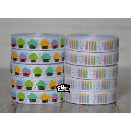 "5 yards 3/8"" Cupcakes & Candles Print Grosgrain Ribbon"