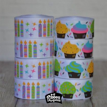 "5 yards 7/8"" Cupcakes & Candles Print Grosgrain Ribbon"