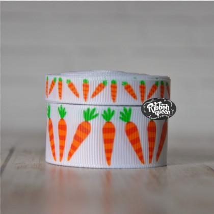 5 yards Carrot Print Grosgrain Ribbon