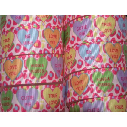 "5 yards 7/8"" Pink Cheetah Conversation Heart Print Grosgrain Ribbon"