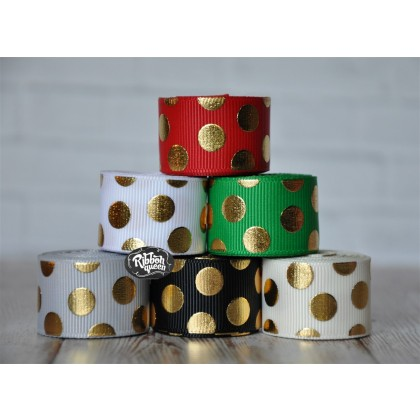 """5 yards 7/8"""" Christmas Gold Foil Funky Dot Grosgrain Ribbon"""