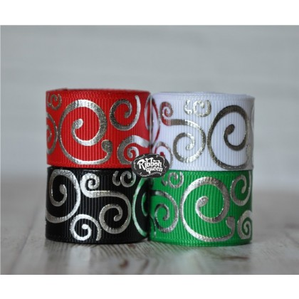 "5 yards 7/8"" Christmas Silver Foil Scroll Print Grosgrain Ribbon"