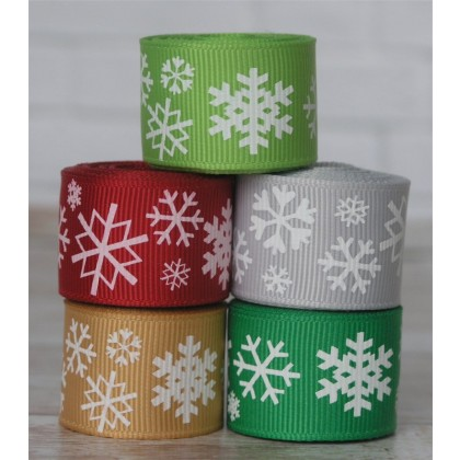 10 yards Christmas Snowflake Ribbon Mix