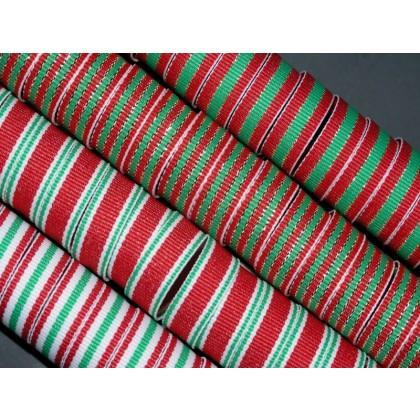 "5 yards 3/8"" Christmas Stripes Grosgrain Ribbon"
