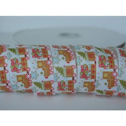 "5 yards 7/8"" Christmas Train Print Grosgrain Ribbon"