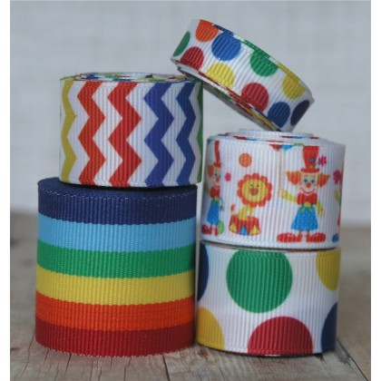 10 yards Circus Friends Ribbon Mix