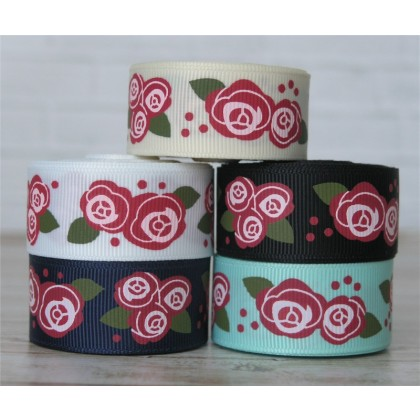 "2 yards 7/8"" Country Roses Print Grosgrain Ribbon"