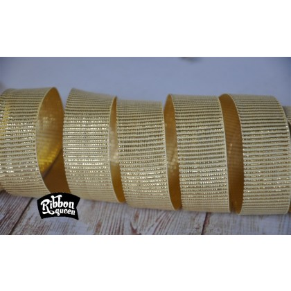 "5 yards 7/8"" Cream & Gold Metallic Barrel Stripe Grosgrain Ribbon"