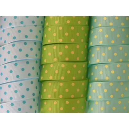 "7/8"" Dainty Dots Print Grosgrain Ribbon"