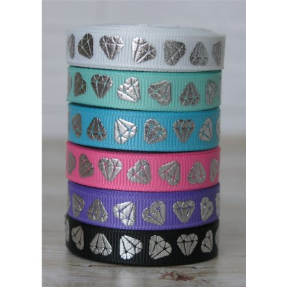 "5 yards 3/8"" Silver Foil Diamond Print Grosgrain Ribbon"