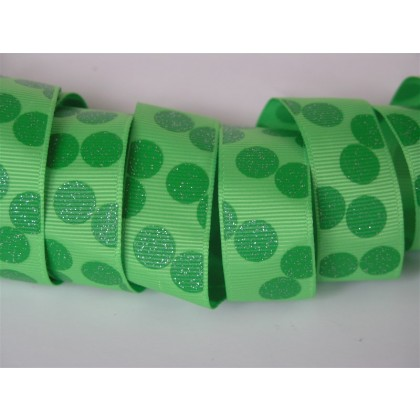 "5 yards 7/8"" Double Green Glitter Dots Print Grosgrain Ribbon"
