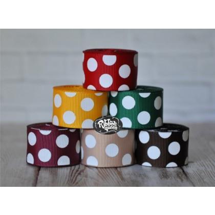 "5 yards 7/8"" New Fall Colors Funky Dots Grosgrain Ribbon"