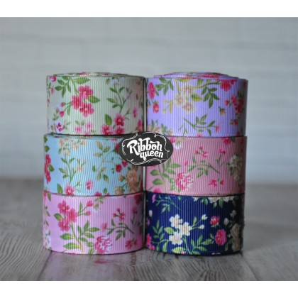 "5 yards 1"" Flower Garden Print Grosgrain Ribbon"