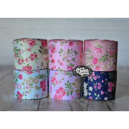 """5 yards 1.5"""" Flower Garden Print Grosgrain Ribbon"""