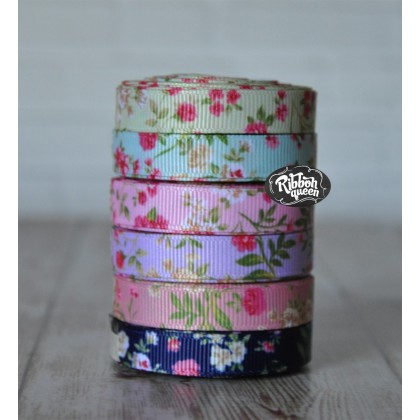 "5 yards 3/8"" Flower Garden Print Grosgrain Ribbon"