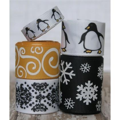 10 yards Winter Penguin Ribbon Mix
