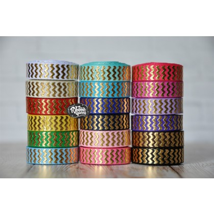 "5 yards 3/8"" Gold Foil Chevron Print Grosgrain Ribbon"