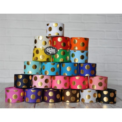 "5 yards 7/8"" Gold Foil Funky Dot Grosgrain Ribbon"