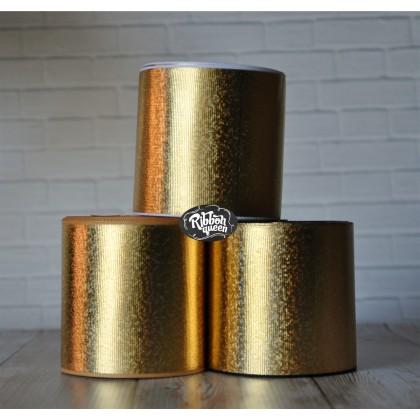 """2 yards 3"""" Gold Hologram Foil Print Grosgrain Ribbon Holographic"""