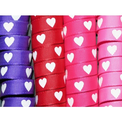 "5 yards 3/8"" Heart Print Grosgrain Ribbon"